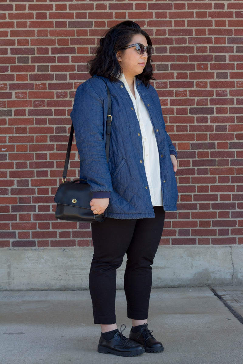 old-navy-quilted-jacket-madewell-oversized-side-button-shirt-vintage-coach-bag-old-navy-pixie-pants-hm-shoes