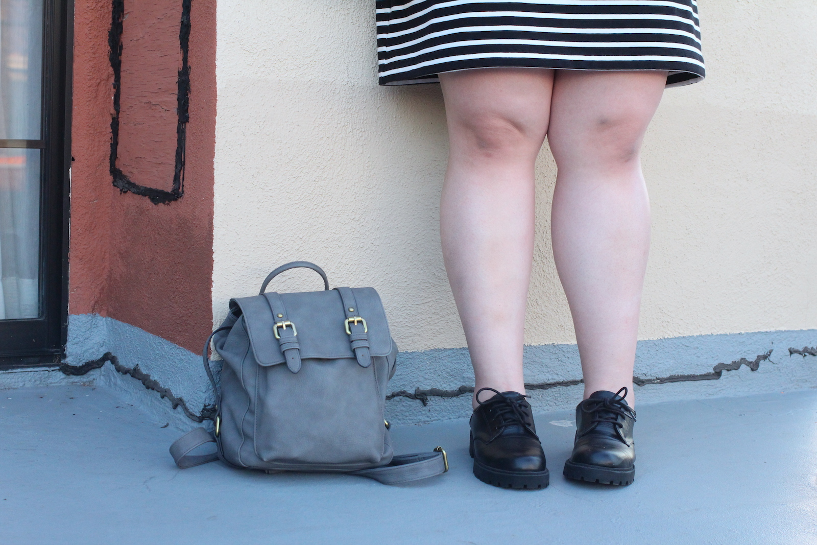 striped-dress-lace-up-loafers-mini-backpack-style-details