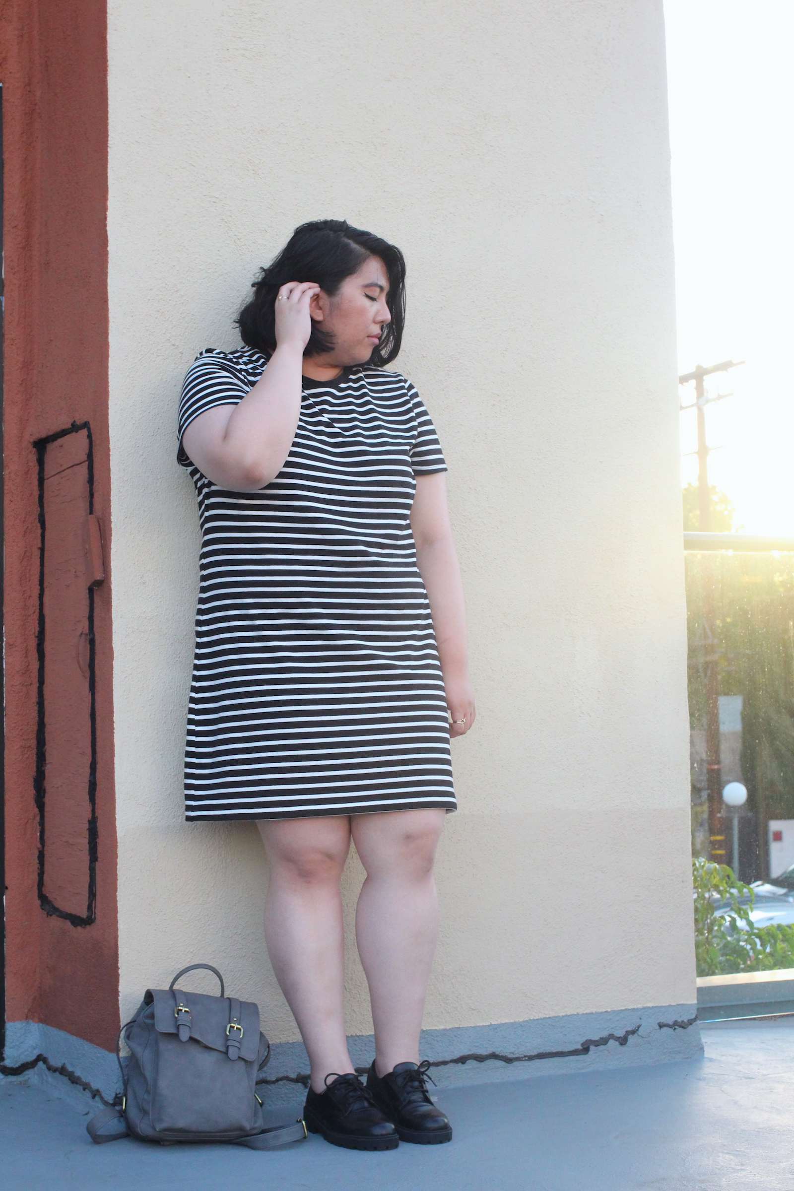 striped-dress-mini-backpack-lace-up-loafers-style