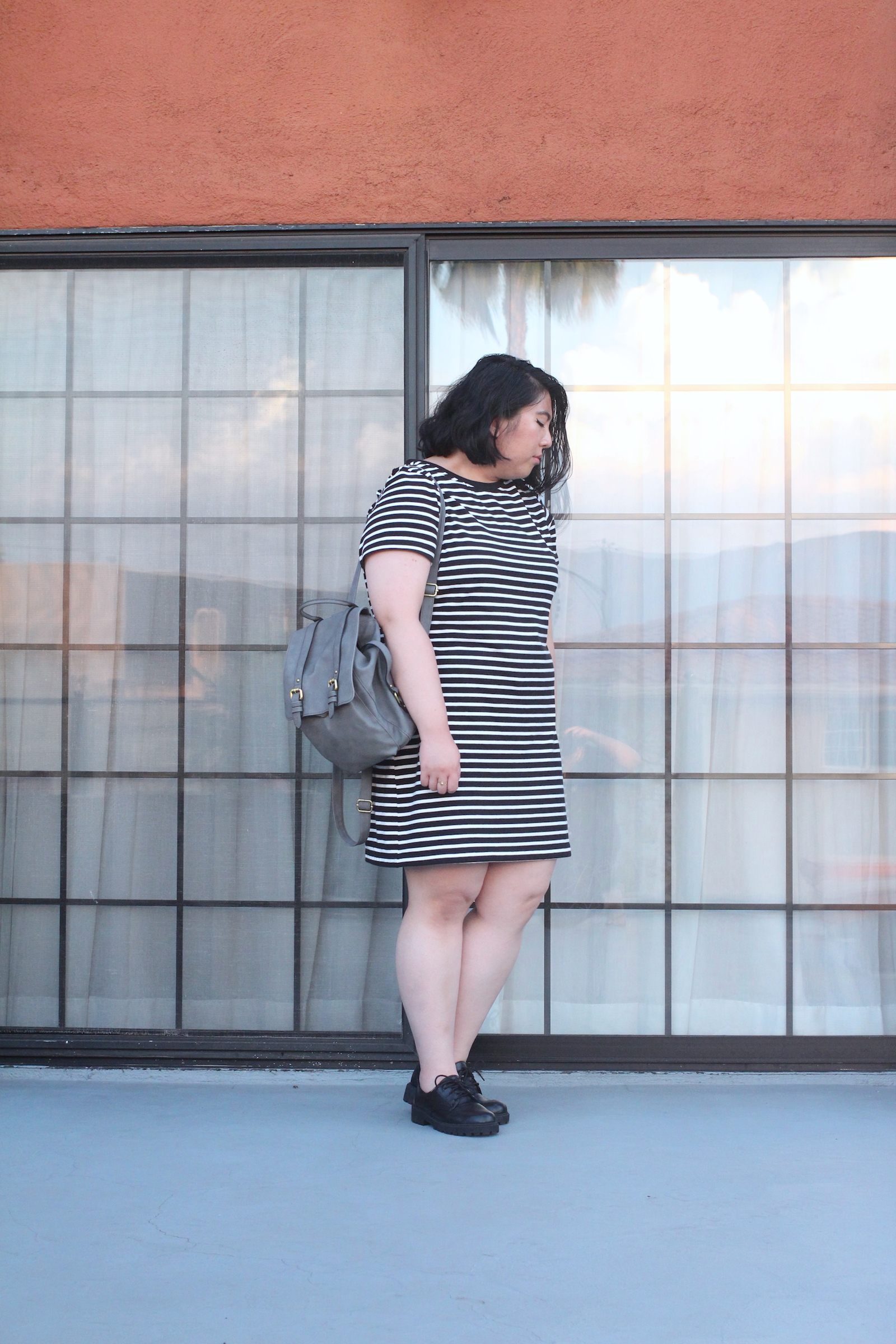 striped-dress-mini-backpack-style-lace-up-loafers