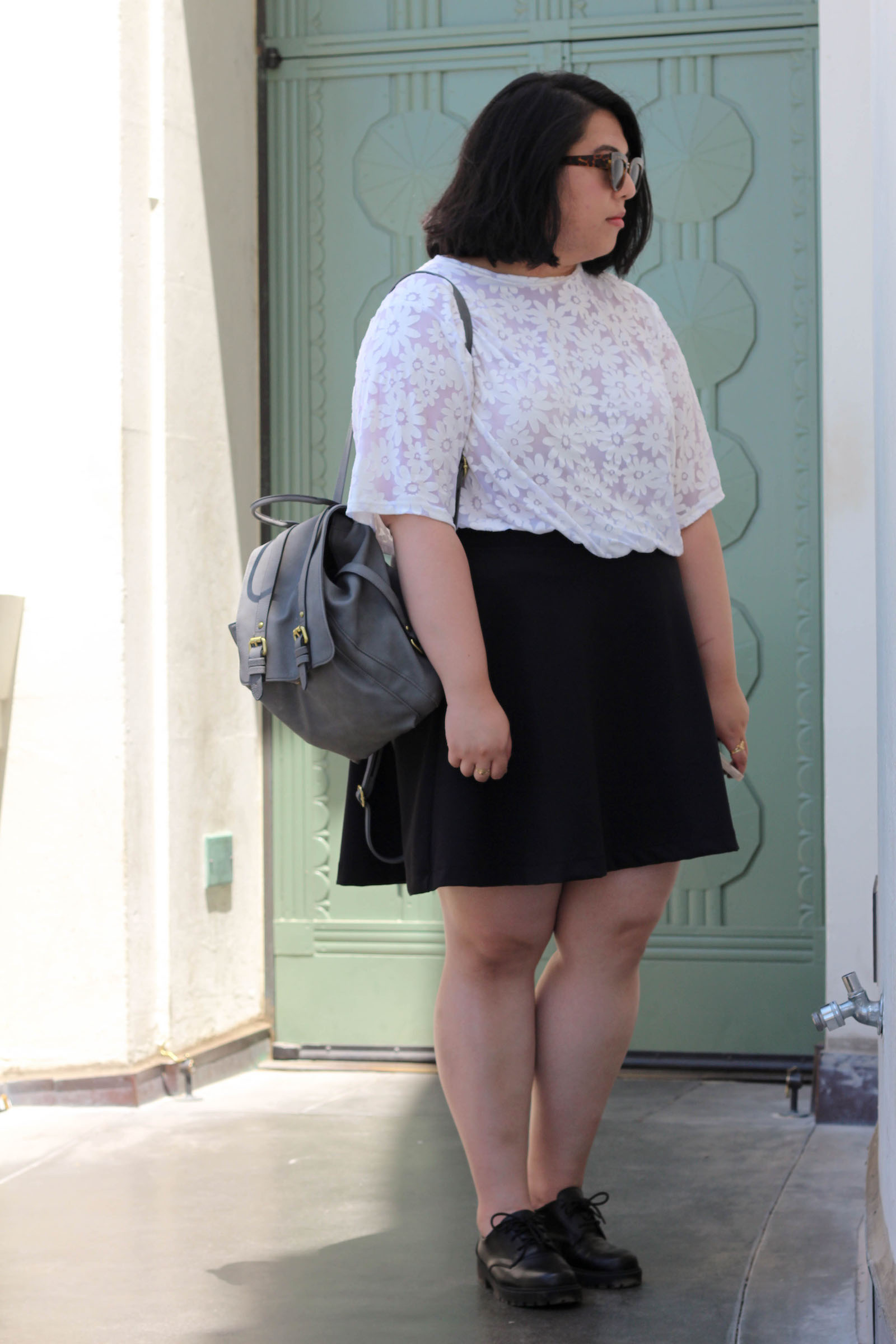 topshop-daisy-top-target-minimal-backpack-old-navy-circle-skirt-hm-lace-up-loafers