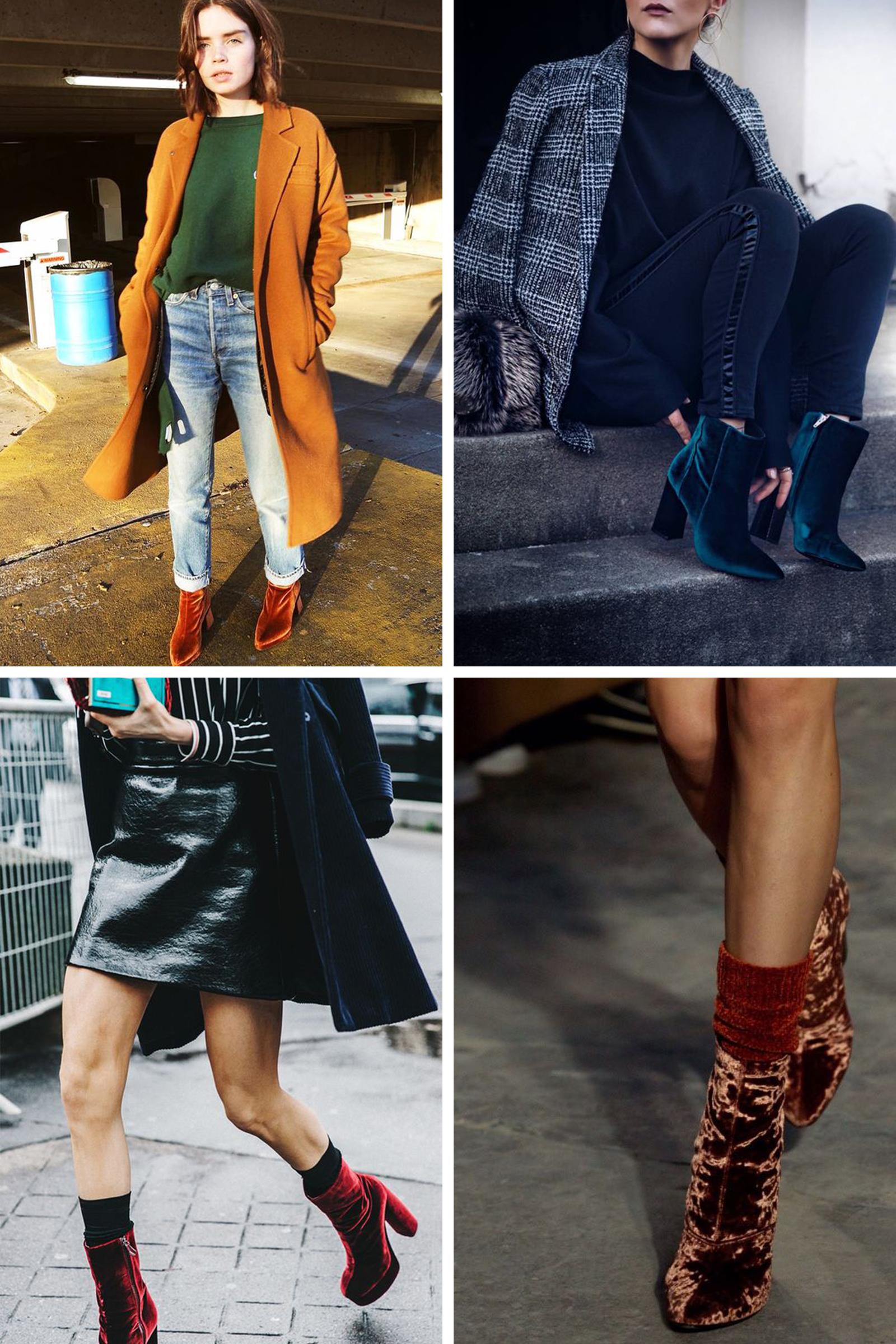 velvet boots style inspo collage